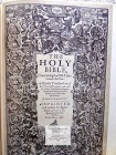 "The English Bible in the John Rylands Library, Privately Published, The woodcut title of the first folio edition of the Authorized Version, 1611, the ""He"" Bible.  Top portion of page, macro"